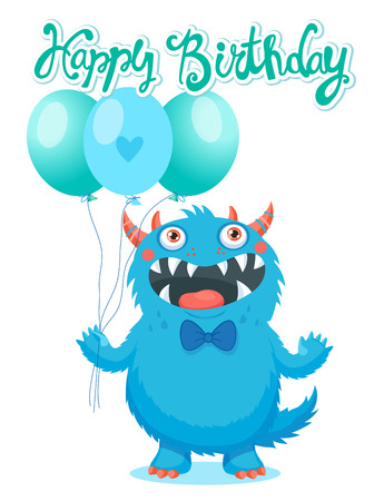 Cute Monster With Color Balloons Vector. Cartoon Cute Monster Vector Illustration. Funny Monster Birthday Greeting Card. Birthday Monster Theme.