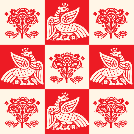 mythological: Fire Bird Phoenix, Seamless Pattern, Vector Illustration. Firebird Logo. Fire Bird Stickers. Fire bird Pattern. Phoenix Fire bird Mythological. Fire bird Phoenix Art. Phoenix Of Resurrection Legend. Illustration