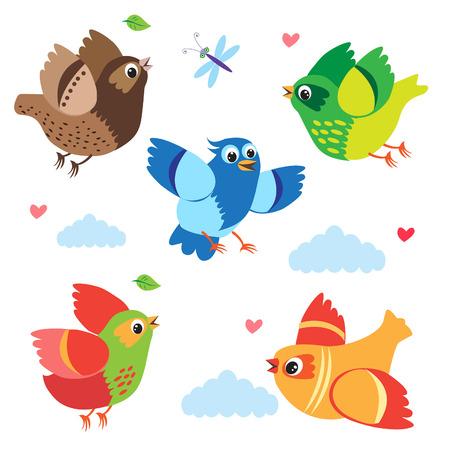 Vliegende kleurrijke vogels. Vector Birds. Stel Cartoon Illustratie. Geïsoleerd op een witte achtergrond. Vogels van het paradijs. Vogels te koop. Vogels in de lucht. Vogels zingen. Kleine Vogels en de jonge vogels. Stock Illustratie
