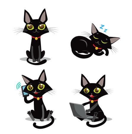 cat sleeping: Black Cat. Sitting Cat. Sleeping Cat. Cat And Phone. Cat And Smartphone. Cat And Computer. Vector Cat. Vector Illustration. Black Cat Plush. Black Cat Tail And Tattoo. Cat Pictures Vector Set.