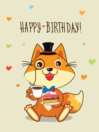 Happy Birthday Card Funny Fox With In A Bowler Hat And Cake In His Hands. Vector Cartoon Animals Illustration. Funny Cat Memes. Funny Cat Jokes. Funny Cat Gourmet. Funny Cat Poster. Funny Cat Stuff. Stock Vector - 60257787