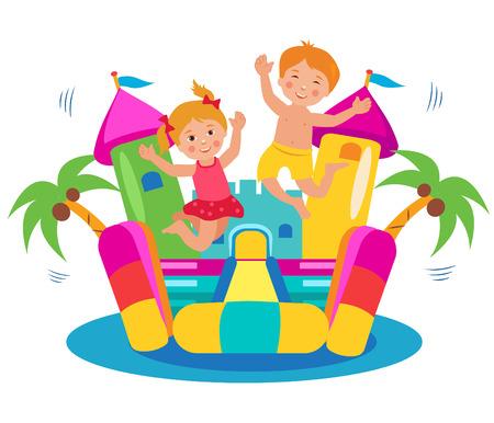 Cute Kids Springen Op een springkasteel Set. Cartoon illustraties op een witte achtergrond. Springkasteel Rental. Springkasteel te koop. Springkasteel Commercial. Springkasteel For Kids. Kasteel Fun. Stock Illustratie