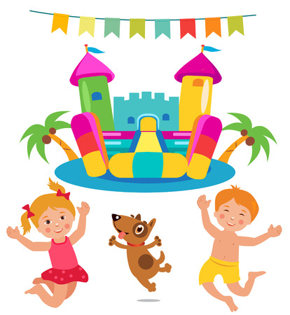 brincolin: Jumping Kids And Dog And Bouncy Castle Set. Cartoon Illustrations On A White Background. Bouncy Castle Rental. Bouncy Castle For Sale. Bouncy Castle Commercial. Bouncy Castle For Kids. Castle Fun.