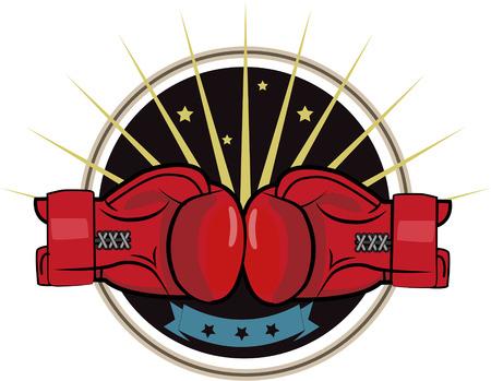 Boxing Gloves. Boxing Emblem, Label, Badge, T-Shirt Design, Boxing, Fight Theme. Boxing Gloves For Man. Boxing Gloves Drawing. Boxing Gloves Tattoo. Boxing Gloves For Sale. Ilustração Vetorial
