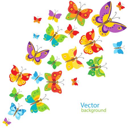 Cartoon Style Butterfly Background. Colorful Butterflies In Vector. Nice Childish Background. Summer Meadow Background. Flying Butterfly Toy. Flying Butterfly Drawing. Flying Butterfly Model. Vectores