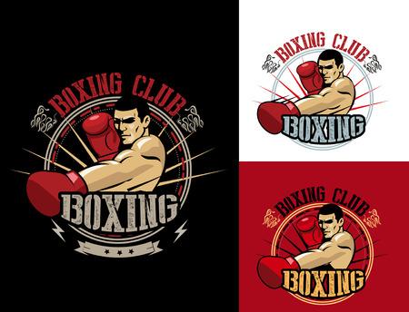 Boxing Club Logo Set. Boxing Emblem, Label, Badge, T-Shirt Design. Boxing Club T Shirt. Fight Brutal Theme. T Shirt Hoodie. Boxing Club Training. Boxing Club For Man. Boxing Club Fights. Ilustrace
