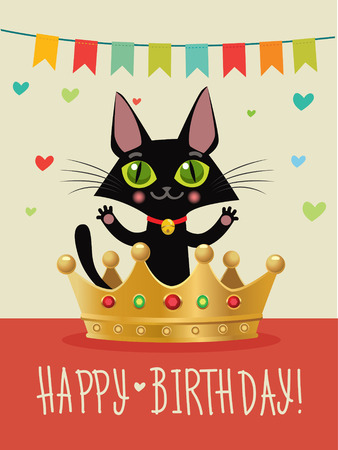 birthday wishes: Happy Birthday To You. Happy Birthday Card With Funny Black Cat And Gold Crown. Wish And Humor. Greeting Card. Birthday Image. Funny Cat In The Gold Crown. Happy Birthday Cat Funny. Birthday Wishes.