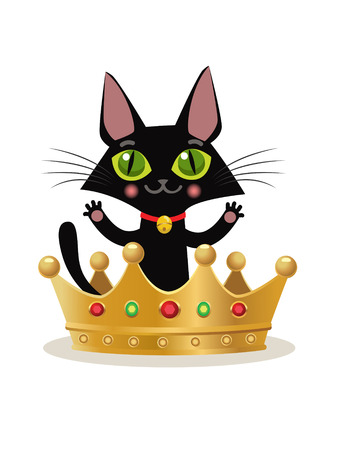 miraculous: Vector Illustration On A White Background. Kitten Internet Meme. Cat Crown Emoji. Cat Crown Hat. Cat In The Crown. Cat And Crown Emoji. Cat King Model. Cat King Costume. Miraculous Cat. Vector Cat.