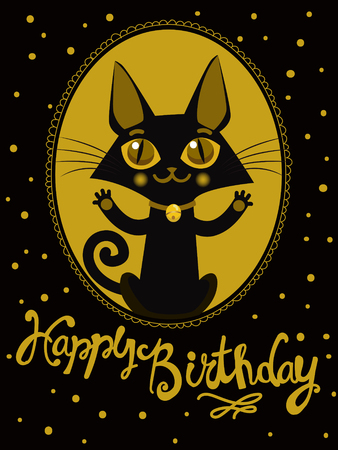 birthday wishes: Happy Birthday To You Wish. Handdrawn Lettering. Greeting Card. Birthday Image. Funny Happy Birthday. Birthday Wishes. Happy Birthday Image. Happy Birthday Card. Funny Cat. Gold Style. Animal Vector. Illustration
