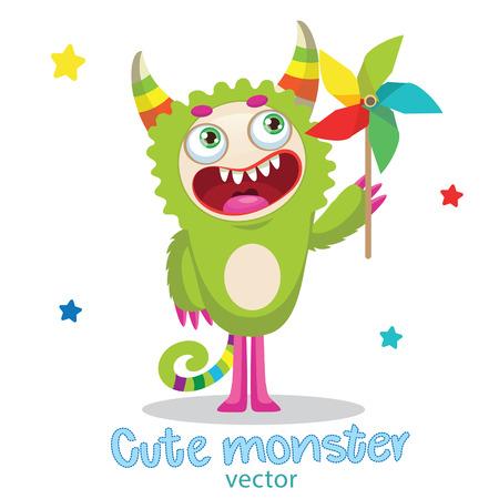 Cute Monster Vector Illustration. Cartoon Monster Mascot. Green Monster With Color Pinwheel. Vector Illustration Funny Fantastic Animals. Monsters University.