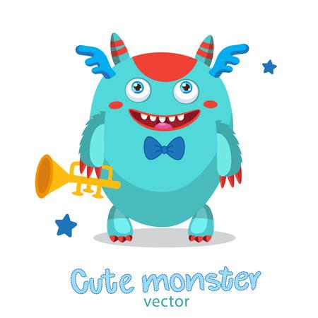Musician Pipe Monster. Cute Monster Vector Illustration. Cartoon Monster Mascot. Monsters University. Gold Loud Pipe.