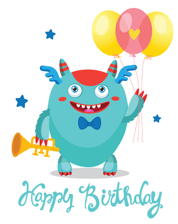 Cute Monster With Color Balloons. Cartoon Monster Vector Illustration. Funny Greeting Card. Birthday Theme. Monsters University.