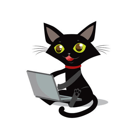 prankster: The Cat Is Sitting. Vector Cat. Cat And Laptop. Curious Cat. Cat Designer. Cat Freelancer. Cat Smile. Cat On A White Background. Vector Illustration. Image Cat. Crafty Animal. Sly Cat. Cat Prankster.