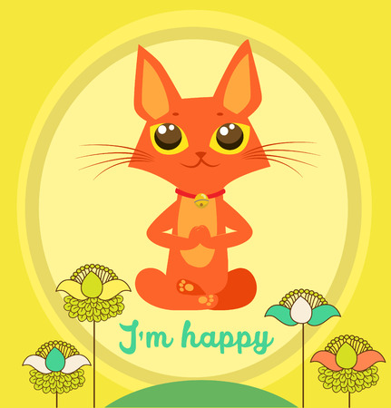 Meditating Cat Vector. Yoga Cat Vector. Cute Red Cat And Message IM Happy. Vector For Poster Print Greeting Card T Shirt Apparel Design. Yoga Cat Figurine. Cat Costume. Cat As Toy. Yoga Cat Pose.