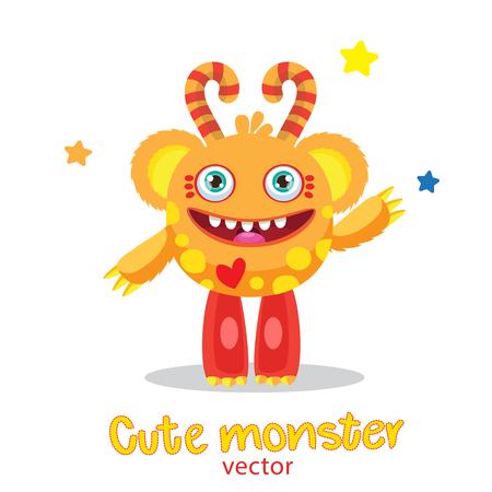inflatable ball: Cute Monster Vector Illustration. Cartoon Monster Ball Mascot. Magic Wand Monster. Inflatable Funny Sun. Monsters University. Vector Fantastic Animals.
