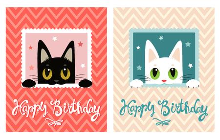 Geburtstags Karte Mit Katze Und Schmetterling Grusskarte Susse