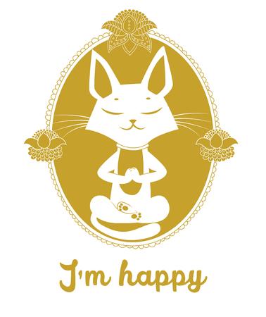 Meditar vector del gato. Gato lindo y mensaje que estoy feliz. Para la impresión del cartel del vector tarjeta de felicitación Camiseta diseño de la ropa. La silueta del gato. Color dorado. Gato actitud de la yoga. Meme del gato de la yoga. Como gato de juguete. Ilustración de vector