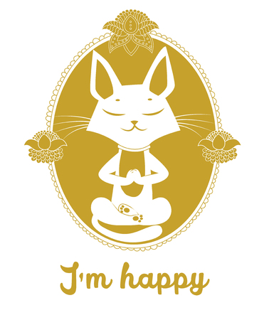 Meditating Cat Vector. Cute Cat And Message Im Happy. Vector For Poster Print Greeting Card Tshirt Apparel Design. Cat Silhouette. Gold Color. Yoga Cat Pose. Yoga Cat Meme. Cat As Toy. Illustration