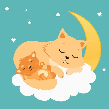 Nette Katze und Kätzchen schläft auf dem Mond. Süße Kitty Karikatur-Vektor-Karte. Gute Nacht Vektor-Illustration. Schlafenkatzen-Träumen.