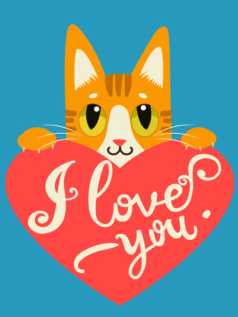enamored: Enamored Cat With Heart And Text I Love You. Handdrawn Inspirational And Encouraging Quote. Vector Isolated Typography Design Element. I Love You Cat. I Love You Image.
