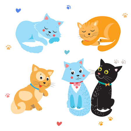 compilation: Cartoon Cute Cats Vector. Set Of Various Cute Cats. Kittens On White Background. Sleeping Cat. Sitting Cat. Cute Cats For Sale. Cute Cats Stickers. Cute Cats And Kittens. Cute Cats Compilation.