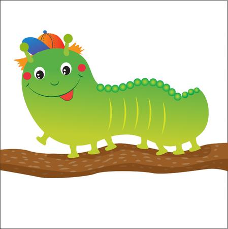creeps: Green Caterpillar Cartoon. Vector Illustration On A White Background. Green Caterpillar Toy. Green Caterpillar Hat. Green Caterpillar Insect. Green Caterpillar Costume. Nice Green Caterpillar.