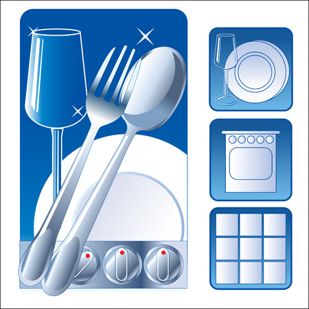 Washed Dishes. Set Iconic Symbol Image. Plate, Fork, Tile, Glass. Vector Picture. Wash Dishes Meme. Wash Dishes Fast. Clean Dishes Rack. Clean Dishes Sign. Clean Dishes Magnet. Vector Illustration