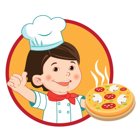 Small Cook With Pizza. Vector Illustration Isolated On A White Background. Vector Character. Kids In The Kitchen. Young Boy Chef. Cheerful Cook. Kitchen. Restaurant. Cooking Food. Mischievous Picture.