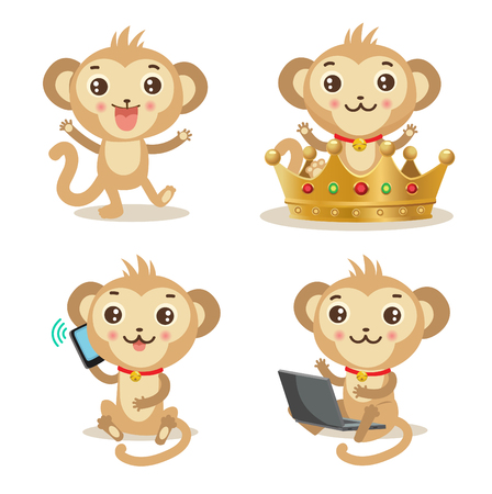 impish: Funky Monkey. Vector Animal Illustration. Cute Monkey Pictures: Gold Crown, Cellphone, Laptop, Dancing. Humor And Friendship Birthday Image. Funky Monkey Baby. Funky Monkey Babies. Funky Monkey Toys.