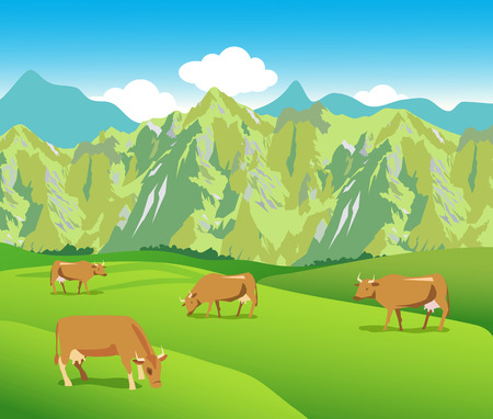 swiss alps: Cows On The Alpine Meadows. Mountains Range And Green Valley. Background For Label, Sticker, Print, Packing, Web. Landscape Vector Background. Cows For Sale. Cows Toys. Cows Mooing.