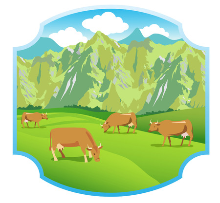Cows On The Alpine Meadows. Mountains Range And Green Valley. Background For Label, Sticker, Print, Packing, Web. Landscape Vector Background.  Alpine Meadows Sticker. Alpine Meadows Weather. Illustration