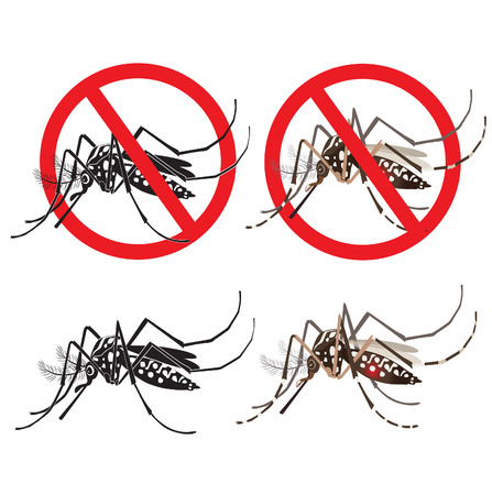 dengue: Isolated Mosquito Editable Under The Red Circle. Zika Virus. Baby Zika Virus. Outbreak Alert Concept. Against Virus From A.Aegypti Mosquito. Zika Virus Warning Sign. Mosquito Vector Set. Dengue Fever. Illustration