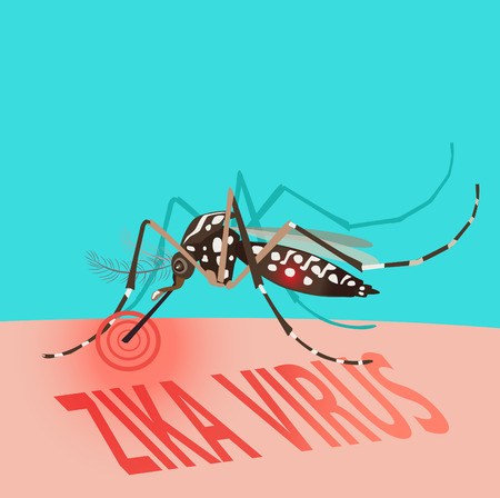 Isolated Mosquito Editable Under The Red Circle. Zika Virus. Baby Zika Virus. Outbreak Alert Concept. Against Virus From A.Aegypti Mosquito. Zika Virus Warning Sign. Mosquito Vector Set. Dengue Fever. Illustration