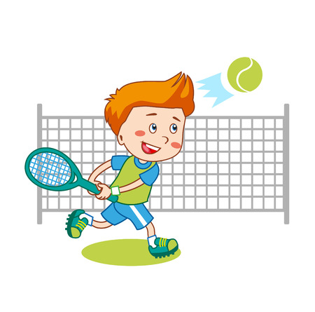 trainee: Young Boy. Boy Playing Tennis. Kids Tennis. Vector Illustration on White Background. Tennis in College. Tennis For Beginners. Young Sportsman. Trainee Happy Player Junior.