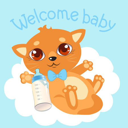 Welcome Baby Boy. Newborn Cat. Welcome Baby Invitation. Welcom? Baby Card. Newborn Cat Care. Newborn Cat Ears. Baby Shower Invitation. Illustration