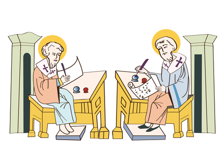 liturgy: Saints Cyril And Methodius. Historical Illustrations. Isolated On White Background. Missionaries Of Charity. Missionaries Around The World. Missionaries. Saint Family Missionaries.