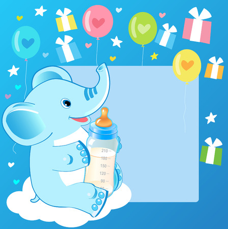 Cute Elephant With Milk Bottle. Welcome Baby Boy Card. Vector Illustration. Cute Elephant Drawing. Happy Birthday. Cute Elephant Baby Eating. Cute Elephant Baby. Cute Elephant Template.