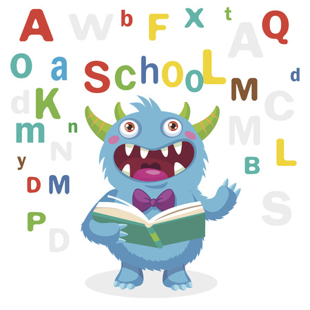 Funny Monster Read Book On A White Background. Cartoon Vector Illustrations. Back to School Theme. Colored Letters Vector. Cartoon Monster Mascot.