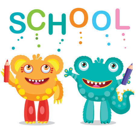 Funny Monsters And Text School On A White Background. Cartoon Vector Illustrations. Back to School Theme. Colored Letters Vector. Frogman and Bearman. Cartoon Monster Mascot.