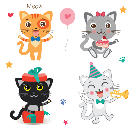 Set Of Cute Little Cats. Cartoon Animal. Vector Collection On A White Background. Cutie Cat Pictures. Cutie Cat Memes. Cutie Cat Drawing. Cat Costume. Cat As Pet. Cat As Toy. Illustration