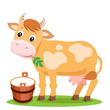 Cute Cow And Milk On A White Background. Farm Animal Character. Cut Isolated Vector. Farm Animal Toy. Farm Animal Supplies. Farm Animal Picture. Cow Farm. Cow Udder. Cow Costume. Cow Smile. Illustration