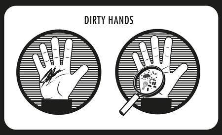 laborer: Dirty Hands. Hand Hygiene. Black & White Flat Icons In The Circle. Bacteria And Infection. Human Disease. Dirt On The Skin. Dirty People. The Infection Under The Skin. Illustration