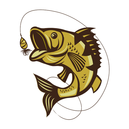 Catching Bass Fish. Fish Color. Fish. Graphic Fish. Fish On A White Background. Fish On A Light Background. Bassfish. Fisherman. Fishing. Recreation Fishing. Big Fish. Fish Jumping. Beautiful. Stock Illustratie