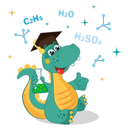 jokes: Funny Dinosaur Experimenting With Chemicals And Formula On A White Background. Cartoon School Illustrations. Funny Dinosaur Jokes. Funny Dinosaur Memes. Funny Dinosaur Poster.