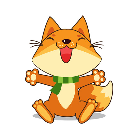 Small Fox. Fox. Fox Sitting. Good Fox. Fox Smiles. Good Animal. Illustration. Image. Happy Animal. Good Drawing. The Picture On The White Background. Small Fox Toy. Fox Tail. Illustration