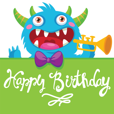 solo: Cute Monster. Cartoon Monster Illustration. Funny Birthday Greeting Card. Birthday Theme. Pocket Monster. Monster Pipes. Noise Funny. Trumpet Solo.