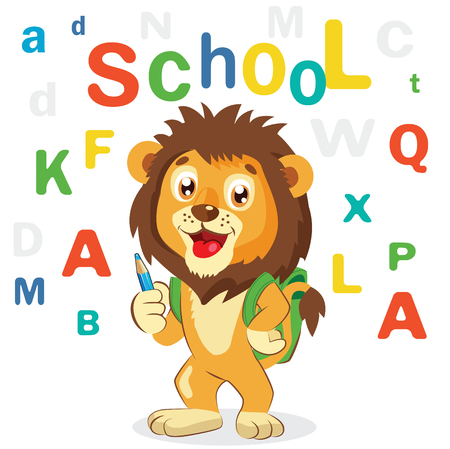 Funny Lion On A White Background. Cartoon Illustrations. Back to School Theme. Colored Letters . Cartoon Lion Mascot. Illustration