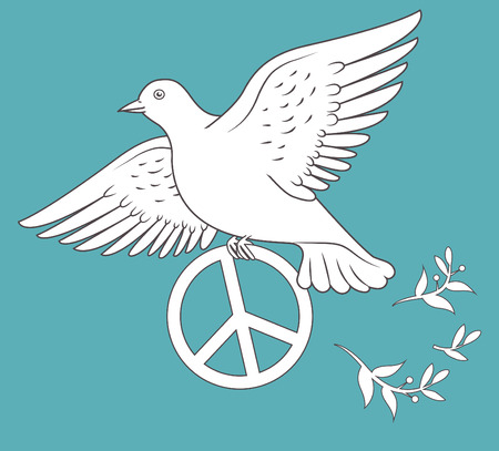 White Dove In Flight Holding An Antiwar Sign On Blue Background