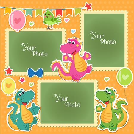 Fotolijstjes voor kinderen met dinosaurussen. Decoratieve sjabloon voor baby, familie of herinneringen. Plakboek Vectorillustratie. Verjaardag Kinderen Photo Frame - Stock Vector. Fotolijsten Collage.