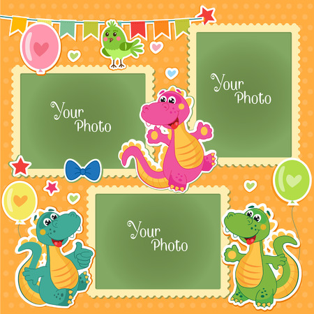 Photo Frames For Kids With Dinosaurs. Decorative Template For Baby, Family Or Memories. Scrapbook Vector Illustration. Birthday Children'S Photo Framework - Stock Vector. Photo Frames Collage. Vectores